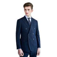 【量身定制】IWODE/埃沃男士西服套装 高端双排扣显瘦商务休闲西装礼服男N DS8811552 上衣+西裤