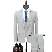 新款男式西服套装韩版修身西装三件套婚礼宴会定制礼服商务纯色套 米白色 L