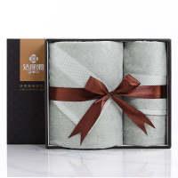 洁丽雅纯棉毛巾浴巾礼盒回礼节日福利礼品两件套装可定制logo可团购 墨绿色