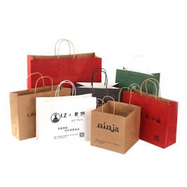 定制牛皮纸袋手提袋服装袋子奶茶印logo外卖打包袋衣服购物礼品袋