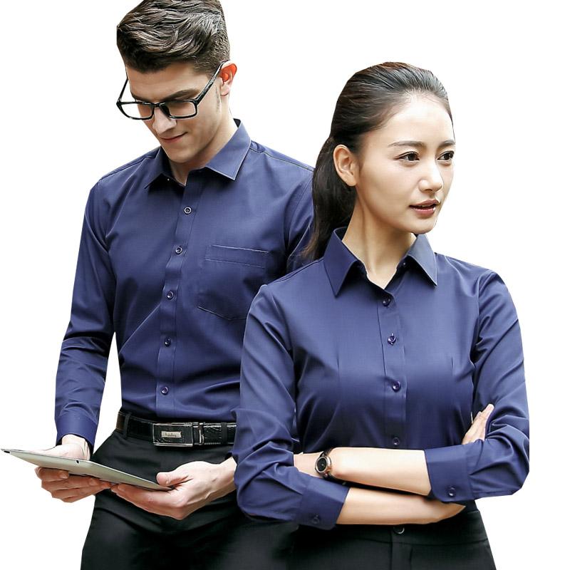 男女衬衫同款长袖4S店工装房产银行工作服商务正装衬衣定制绣logo